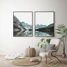 Mountain Lake PrintModern Wall ArtLandscape Set | Etsy