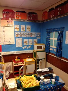 Role play fish and chip shop Cafe Role Play Area, Role Play Shop, Role Play Areas, Kids Play Corner, Kids Play Area, Outdoor Learning, Outdoor Play, Fish And Chip Shop, Preschool Classroom