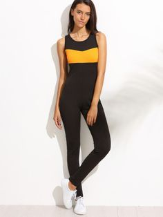Combi-pantalon bicolore sans manche - noir jaune