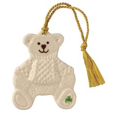 """Synonymous with Belleek these ornaments featuring the hand painted shamrocks are gifts that will be treasured for years to come. Not just for Christmas these ornaments can be displayed year round. Teddy Bear 2 ½""""W x Made in Ireland. Baby's First Christmas Gifts, Irish Christmas, Christmas Teddy Bear, Babies First Christmas, Christmas Fun, Christmas Tree Ornaments, Christmas Decorations, Holiday Decor, Belleek Pottery"""