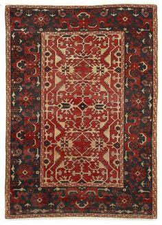 VAN-HAM Kunstauktionen Ushak, copy of a »Lotto« rug, Turkey or Rumania.  Circa 1900. 149 x 107cm.