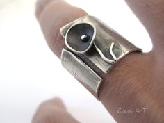 Wide Band Silver Ring, Sterling Silver Wide Band Flower Ring, Silver Wide Band…