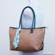Large tote bag, Faux leather mocha shoulder bag, Structured tote, carry all, travel bag, school bag, everyday bag, laptop bag by bennaandhanna on Etsy
