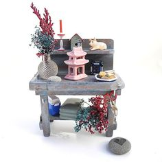 Valentine's Day Gift Miniature Potting Work Bench with by Janit, $75.00 https://www.etsy.com/listing/117788952/valentines-day-gift-miniature-potting #miniaturegarden #valentinegift