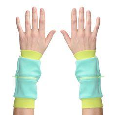 Wrist Zips - Wrist Wallet - Neon/Seafoam