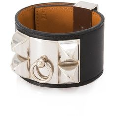Pre-owned Herms Collier De Chien Bracelet ($960) ❤ liked on Polyvore featuring jewelry, bracelets, black, hermes jewelry, leather jewelry, square bangles, hermes bangle and pre owned jewelry