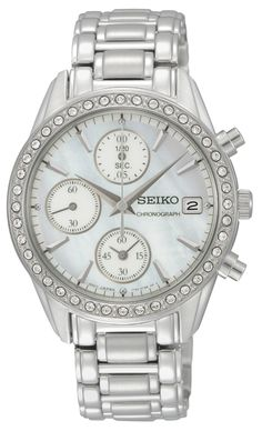 20ef79ec9 Seiko Ladies Crystal, Chronograph Watch, with swarovski crystal and stainless  steel band, SNDY21
