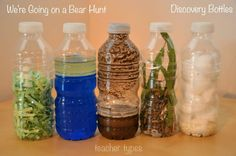 We're Going on a Bear Hunt sensory bottles and other book inspired play ideas (these are the bottles in Lisa's room) Nursery Activities, Sensory Activities, Preschool Activities, Activities For Kids, Bears Preschool, Preschool Rooms, Sensory Wall, Daycare Rooms, Preschool Music