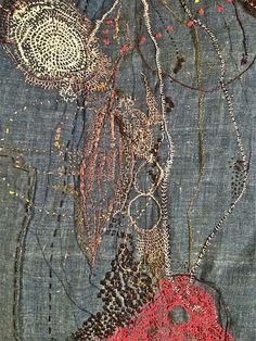 Junko Oki - art work on the Boro. oh heck yes. Art Fibres Textiles, Motifs Textiles, Textile Fiber Art, Textile Artists, Sashiko Embroidery, Embroidery Art, Embroidery Stitches, Shibori, Boro Stitching