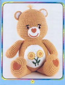 The Vintage Toy Chest: Free Crochet Patterns. Love this Care Bear . Crochet Teddy, Crochet Bear, Cute Crochet, Crochet For Kids, Crochet Dolls, Crochet Toys Patterns, Amigurumi Patterns, Stuffed Toys Patterns, Amigurumi Doll