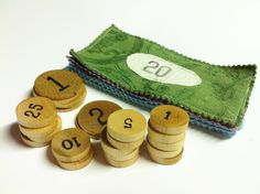 SALE Funny Money Play Set Wooden Coins and by AbbyRoseCreations, $22.00