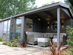 The Studio Pavilion   Studios from Malvern Garden Buildings Tongue And Groove Timber, Tongue And Groove Cladding, Felt Roof Tiles, Shed Office, Timber Roof, Outside Seating, Roof Colors, Cedar Shingles, Garden Equipment