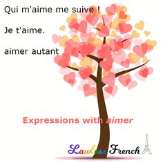 "A slew of idiomatic expressions in #French feature ""aimer"", the verb for ""to like"" and ""to love"".  #lawlessfrench #learnfrench French Verbs, French Phrases, Idiomatic Expressions, French People, French Expressions, Teacher Boards, Crazy About You, French Teacher, Love You More Than"