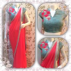 Georgette saree wid designer blouse whatsapp 8755760028
