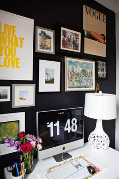 Great dark color and art wall for an office.  Twig and Thistle blog.