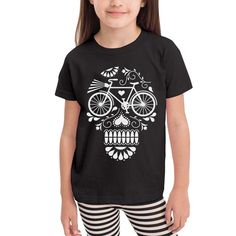 Short Sleeve Retro Style Bird Silhouette T-Shirts for Kids 2-6T Ruffled Tunic Tops with Falbala