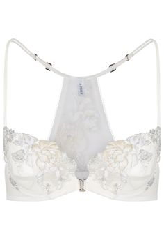 2f7d9df23 White balconette bra decorated by floral motifs embroidered over tulle and  finished with the unmistakeable La Perla frastaglio technique.