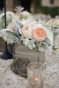 A Peony or roses Centerpiece in a Square Box with dusty miller Brides: Simple Floral Wedding Centerpieces Peonies Centerpiece, Rustic Wedding Centerpieces, Floral Centerpieces, Flower Arrangements, Wedding Decorations, Hanging Centerpiece, Wood Box Centerpiece, Rustic Weddings, Wedding Reception Flowers