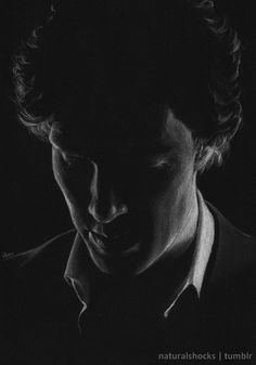 naturalshocks: Eugh, I'm so rusty it hurts. White coloured pencil and grey pastel pencil on A4 black paper, as usual. Sherlock Holmes