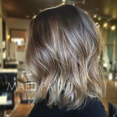 Mesmerizing hair inspirations with extra ashy blonde lob working our way to silver and having fun. Shoulder Length Balayage, Shoulder Length Hair Balayage, Hair Color And Cut, Hair Colour, Ash Color, Hair Color Balayage, Ashy Balayage, Balayage Hair Dark Blonde, Dirty Blonde Hair Ashy