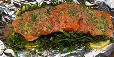 Campfire Cuisine: foil wrapped salmon with herbs and lemon #travel #roadtrips #roadtrippers Meatloaf, Camping Meals, Tasty, Camping Foods
