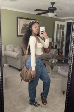 Cute Swag Outfits, Dope Outfits, Trendy Outfits, Fashion Outfits, Outfits For Black Girls, Fashion Hair, Birkenstock Outfit, Birkenstock Fashion, Streetwear Mode