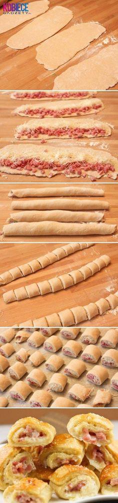 Buleczki z serem i szynka... Pyszne KROKIECIKI na szybko:)