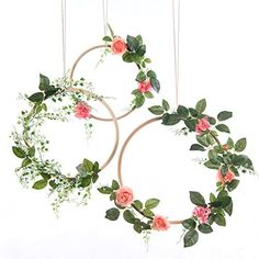 ling's moment Summer Greenery Wedding Handcrafted Vine Wreaths Set of Christmas Decor Rustic Wedding Backdrop, Artificial Roses Plant Flower Garland, Woodland Wedding decoration Floral Hoop Flower Garland Wedding, Floral Garland, Flower Garlands, Wedding Wreaths, Handmade Wedding Decorations, Rustic Wedding Backdrops, Wedding Reception, Vine Wreath, Floral Hoops