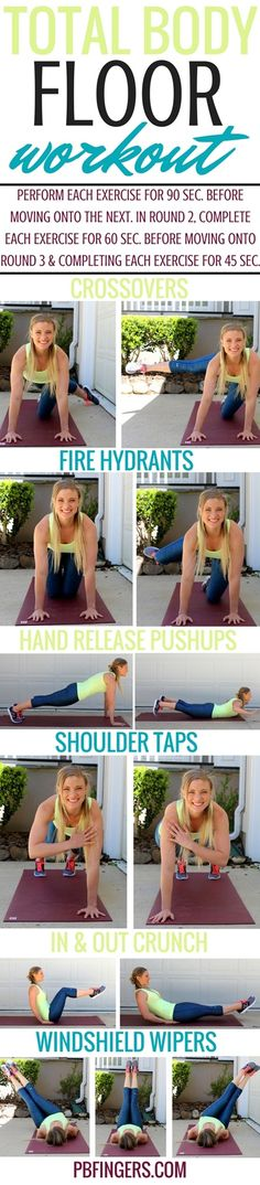 Total Body Floor Workout (A quiet workout you can do completely on the floor) Floor Workouts, Fun Workouts, At Home Workouts, Body Workouts, Fitness Workouts, Workout Routines, Quiet Workout, Mommy Workout, Workout Women