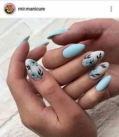 Beautiful floral nail art - summer nails makeup в 2019 г. Short Nail Designs, Nail Art Designs, Nails Design, Blue Nails With Design, Light Blue Nail Designs, Nail Manicure, My Nails, Manicure Ideas, Gel Nail