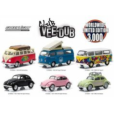 Greenlight Vee Dub Series, 6pc Diecast Car Set Limited Edition to 3,000pcs 1/64 Diecast Model Cars by Greenlight