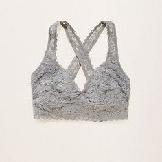 Aerie Lace Cross-Back Bralette ($14) ❤ liked on Polyvore featuring intimates, bras, silver, cross back bra, strap bra, lace strappy bra, criss cross back bra and lace bra