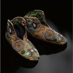 Seminole (Florida), Shoes, beadssilk leather, c 1830