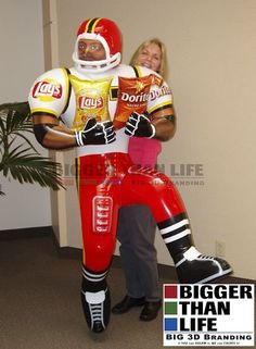 It's NFL Playoff Madness!  What better way to celebrate the storm surrounding the football playoffs than with a life size version of a LAY'S® football player, created by Bigger Than Life for Frito-Lay in store displays.  See more Big Brand Explosions at http://www.btladv.com/products/sealed-inflatables.html   #BiggerThanLife   #BrandExplosions   #BiggerIsBetter   #GetNoticed   #Inflatables  #Lays   #Doritos   #fritolay