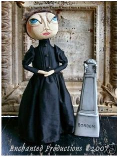 PRIMITIVE FOLK ART GOTH LIZZIE BORDEN ANNIVERSARY DOLL