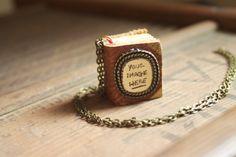 Mini Book Charm Necklace Custom for book lover teacher librarian English major - Minimalistic leather novel pendant with metal embellishment