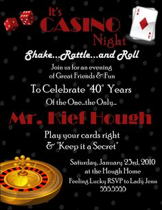 Casino night poker party 40th birthday invitations professionally casino night poker party 40th birthday invitations professionally printed on metallic paper and artfully hand mounte 40th birthday invitation ideas filmwisefo