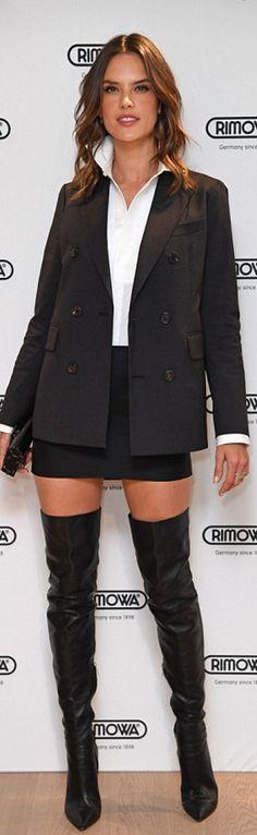 Who made  Alessandra Ambrosio's black skirt, jacket, thigh boots, white shirt?