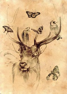 Healer_of_the_forest_by_venatorfend_large tattoo inspiration. wolf, snake, butterfly, humming bird bat, flowers,