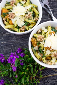 Three P Pasta Salad - Cumin infused roast PUMPKIN chunks, perfect PENNE pasta, all topped with delicious PARMESAN! A super nutritious, quick, easy and healthy pasta salad that can be eaten anytime, vegetarian friendly too!! @almondtozest