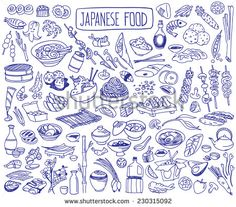 Set of various doodles, hand drawn rough simple Japanese cuisine food sketches.