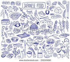 Set Of Various Doodles, Hand Drawn Rough Simple Japanese Cuisine Food Sketches. Ilustración vectorial en stock 230315092 : Shutterstock