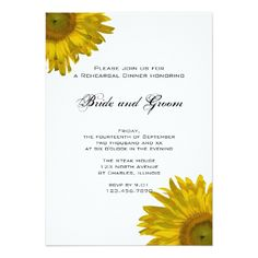 Yellow Sunflower Rehearsal Dinner Invitation