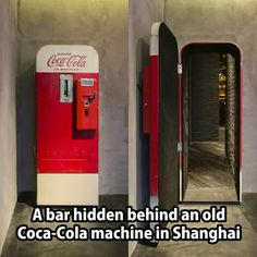 """There's a vintage Coca-Cola vending machine in Shanghai that hides a stylish up-scale bar called """"Flask."""" The otherwise unassuming Coca-Cola machine stands in The Press, a sandwich shop that operates. Bar Secreto, Coca Cola, Coke Machine, Vending Machine, Speakeasy Bar, Soda Machines, Secret Passage, Hidden Spaces, Hidden Gun Rooms"""