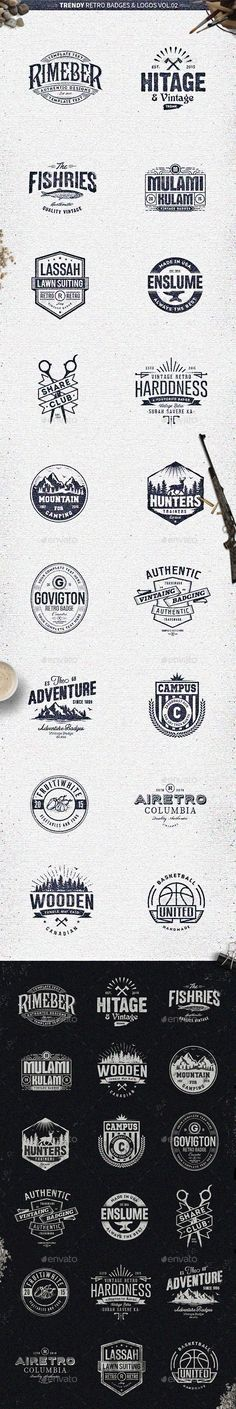 18 Trendy Retro Badges and Logos Vol.02 - Badges & Stickers Web Elements