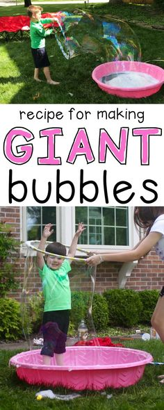 Our neighborhood kids played with these giant bubbles for over 3 hours!!!  This recipe for making giant bubbles is the best!