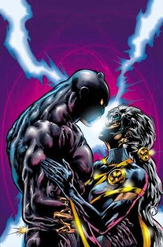 Storm & Black Panther More… Storm Marvel, Hq Marvel, Marvel Dc Comics, Marvel Heroes, Marvel Comic Books, Comic Book Characters, Comic Character, Comic Books Art, Comic Art