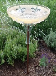 repurposed glass light shades, gardening, repurposing upcycling, Vintage glass light shade now a birdbath