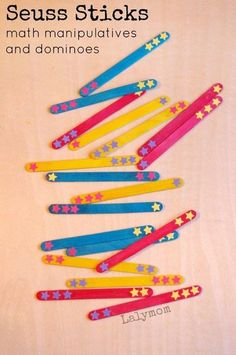 A super fun way to learn math with Dr. Seuss!  These Seuss sticks are super easy to make and can be used as dominoes as well as math manipulatives!  Such a fun way to help kids master their math skills!  Dr. Seuss is a character that kids love because he is super fun!  #kids #school #math  #kindergarten #school #learn  #activitiesforkids #activities Preschool Math, Kindergarten Math, Fun Math, Math Games, Teaching Math, Teaching Numbers, Kids Math, Dr. Seuss, Dr Seuss Week