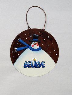 Folk Art Snowman with Believe Sign Christmas by barbsheartstrokes